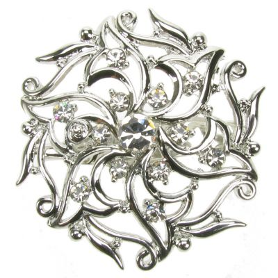SILVER DIAMANTE RHINESTONE FLOWER BROACH BROOCH PIN COSTUME JEWELLERY- NEW - UK