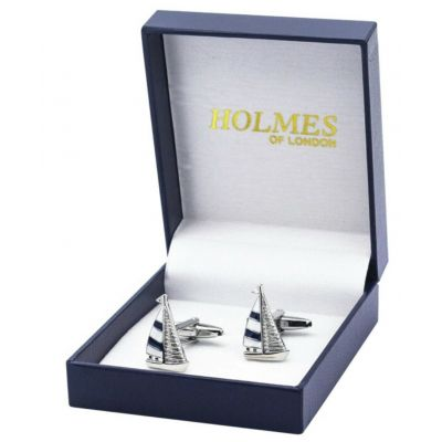 CUFF LINKS SEA YACHT BOAT SHIP SAILOR CAPTAIN ANCHOR CUFFLINKS GIFT BOX NEW UK
