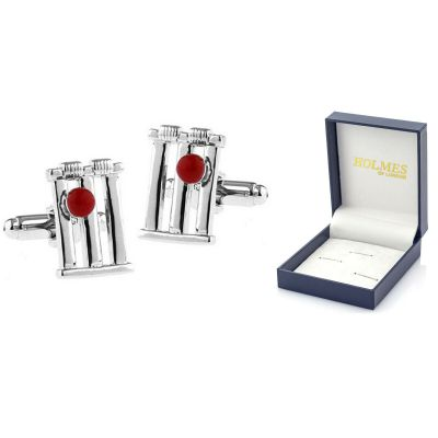 CUFF LINKS CRICKET WICKET STUMPS BALL CRICKETER SPORTS UK CUFFLINKS  BNIBOX UK