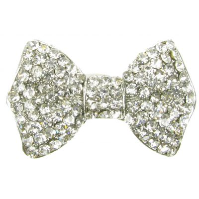 SILVER BOW  BROOCH DIAMANTE VINTAGE SHOE PIN BRIDAL CAKE DECORATION  NEW  UK