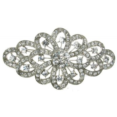 SILVER DIAMANTE RHINESTONE FLOWER BROOCH SHOE CAKE BRIDAL PIN JEWELLERY- NEW  UK