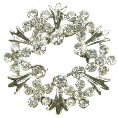 SILVER BROOCH DIAMANTE RHINESTONE FLOWER PIN BRIDAL WEDDING SHOE BROOCH- NEW -UK