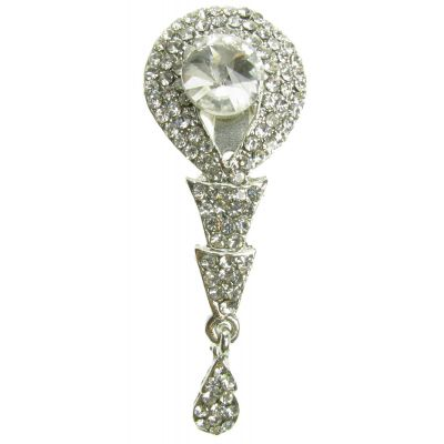 SILVER VINTAGE BROOCH DIAMANTE FLOWER SHOE PIN BRIDAL CAKE DECORATION  NEW  UK