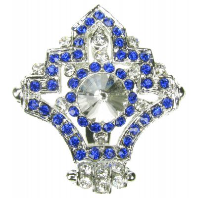 SILVER BLUE BROOCH DIAMANTE BROACH VINTAGE SHOE CAKETOPPER PIN BRIDAL NEW UK