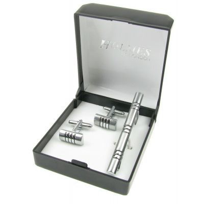 SHIRT CUFF LINKS TIE PIN CLIP SET SILVER WEDDING XMAS PARTY GIFT BOX NEW UK SL09