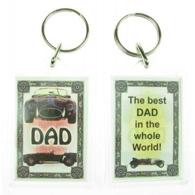 NOVELTY FAMILY NAME DAD KEYRING PRINTED BOTH SIDES, UK,  NEW