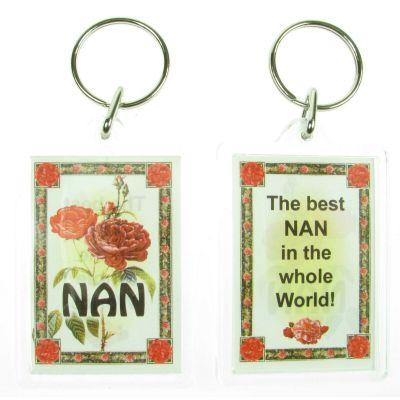 NOVELTY FAMILY NAME NAN KEYRING PRINTED BOTH SIDES, UK,  NEW