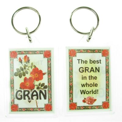 NOVELTY FAMILY NAME GRAN KEYRING PRINTED BOTH SIDES, UK,  NEW