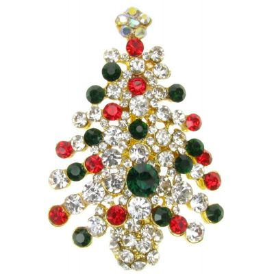 BROOCH RED GREEN CHRISTMAS XMAS TREE RHINESTONE DIAMANTE BROACH PIN GIFT NEW UK