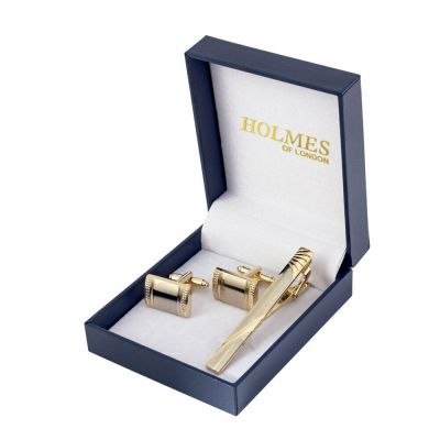 GOLD MENS SHIRT CUFF LINKS TIE CLIP PIN WEDDING XMAS PARTY GIFT BOX NEW UK GL19