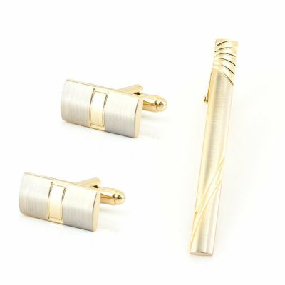 GOLD MENS SHIRT CUFF LINKS TIE CLIP PIN WEDDING XMAS PARTY GIFT BOX NEW UK GL21