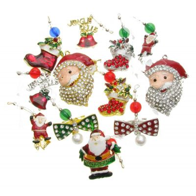 MIX PACK OF 12 CHRISTMAS TREE STOCKING HANGINGS BROOCH RED RHINESTONE PIN NEW UK