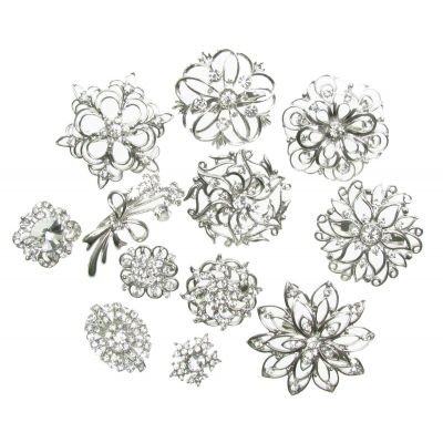 MIX PACK OF 12 SILVER BROOCH DIAMANTE BROACH VINTAGE SHOE CAKE PIN BRIDAL NEW UK