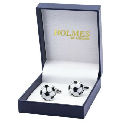 CUFFLINKS SILVER SPORTS SOCCER BALL FOOTBALL LEAGUE FIFA PLAYER CUFF LINKS NEWUK