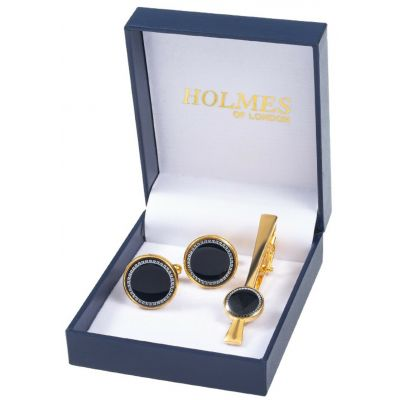 GOLD BLACK GROOM SHIRT CUFF LINKS TIE CLIP PIN WEDDING XMAS PARTY NEW UK GL14