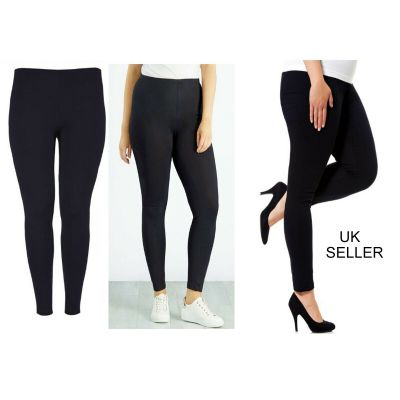 BLACK COTTON RICH FULL LENGTH PLAIN STRETCH LADIES  LEGGINGS - SIZE 6/8 - 20/22