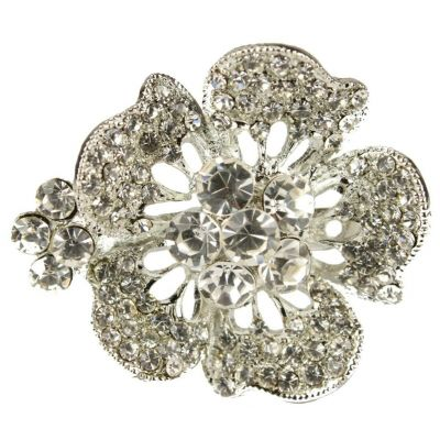 BROOCH SILVER DIAMANTE FLOWER RHINESTONE  SHOE PIN BRIDAL BOUQUET CAKE- NEW - UK