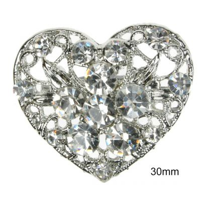 BROOCH SILVER LOVE HEART DIAMANTE RHINESTONE PIN BRIDAL WEDDING CAKE NEW UK