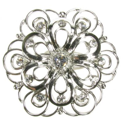 DIAMANTE BROOCH SILVER VINTAGE FLOWER SHOE PIN BRIDAL CAKE DECORATION. NEW. UK