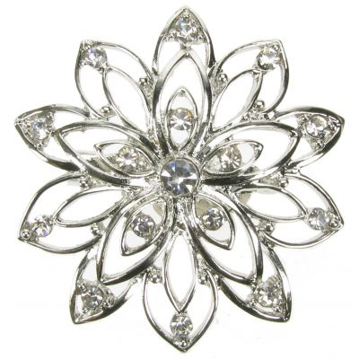 DIAMANTE VINTAGE SILVER BROOCH SHOE PIN FLOWER BRIDAL CAKE DECORATION  NEW  UK