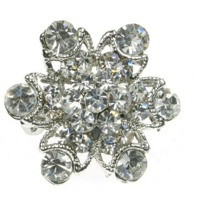 SILVER DIAMANTE FLOWER RHINESTONE BROOCH BROACH PIN COSTUME JEWELLERY- NEW - UK