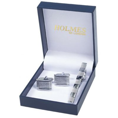SILVER SHIRT CUFFLINKS TIE PIN CLIP GROOM WEDDING FAVOURS PARTY GIFTBOX UK CT5