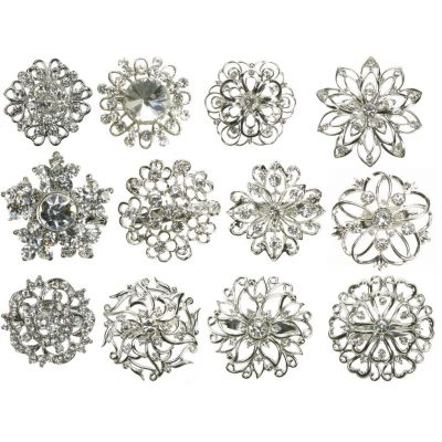 MIX SILVER DIAMANTE 12 PCS BROOCH BROACH PIN BOUQUET JOB LOT CAKE DECO NEW UK