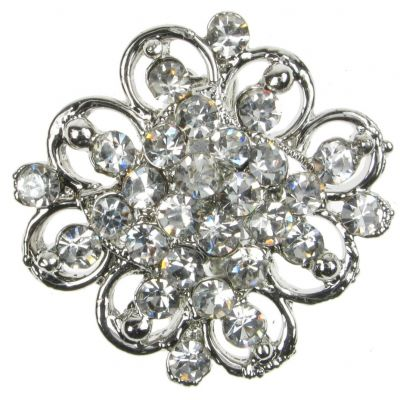 BROOCH SILVER FLOWER DIAMANTE VINTAGE SHOE PIN BRIDAL CAKE DECORATION  NEW  UK