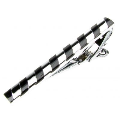 TIE CLIP PIN MENS SILVER BLACK SHIRT TIEPIN WEDDING BIRTHDAY GIFT NEW UK TP6