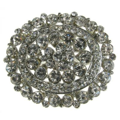 SILVER DIAMANTE BROOCH BRIDAL BOUQUET CAKE DECORATION SHOE PIN BROACH - NEW - UK