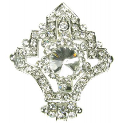 SILVER DIAMANTE RHINESTONE FLOWER BROOCH BROACH PIN COSTUME JEWELLERY- NEW - UK.