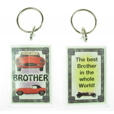 NOVELTY FAMILY NAME BROTHER KEYRING PRINTED BOTH SIDES, UK,  NEW