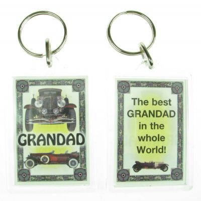 NOVELTY FAMILY NAME GRANDAD KEYRING PRINTED BOTH SIDES, UK,  NEW