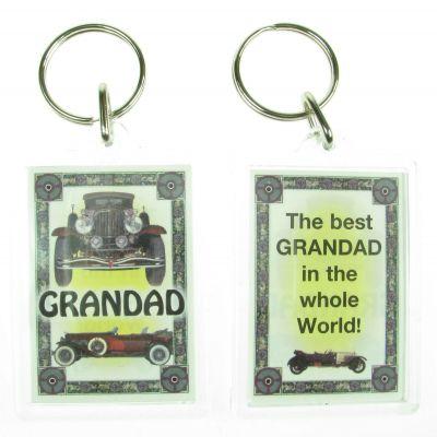NOVELTY FAMILY NAME GRANDAD KEYRING PRINTED BOTH SIDES, UK,  NEW