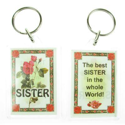 NOVELTY FAMILY NAME SISTER KEYRING PRINTED BOTH SIDES, UK,  NEW
