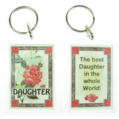 NOVELTY FAMILY NAME DAUGHTER KEYRING PRINTED BOTH SIDES, UK,  NEW