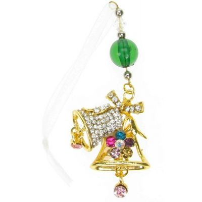 BROOCH GOLD BELL CHRISTMAS XMAS TREE HANGING RHINESTONE DIAMANTE PIN GIFT NEW UK
