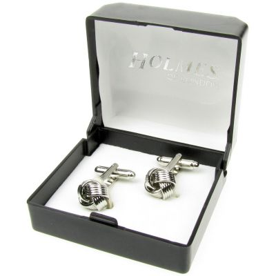 SILVER TWISTED WEDDING KNOT CUFFLINKS MENS BESTMAN GROOM CUFF LINKS BNIB NEW UK
