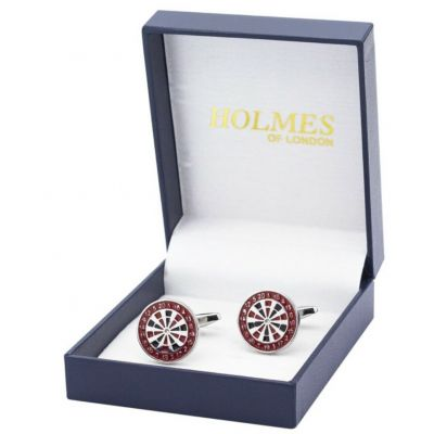 CUFFLINKS RED DARTBOARD DARTS GAME PLAYER SPORTS CUFF LINKS GROOM GIFT NEW UK