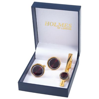 GOLD MAROON SHIRT CUFF LINKS TIE CLIP PIN WEDDING XMAS PARTY BNIB NEW UK GL13