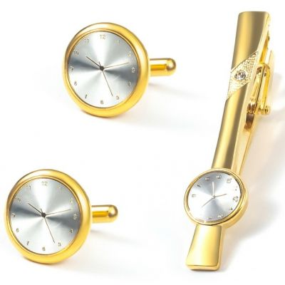 GOLD TIME CLOCK FACE CUFF LINKS TIE CLIP PIN WEDDING XMAS PARTY BNIB NEW UK GL20